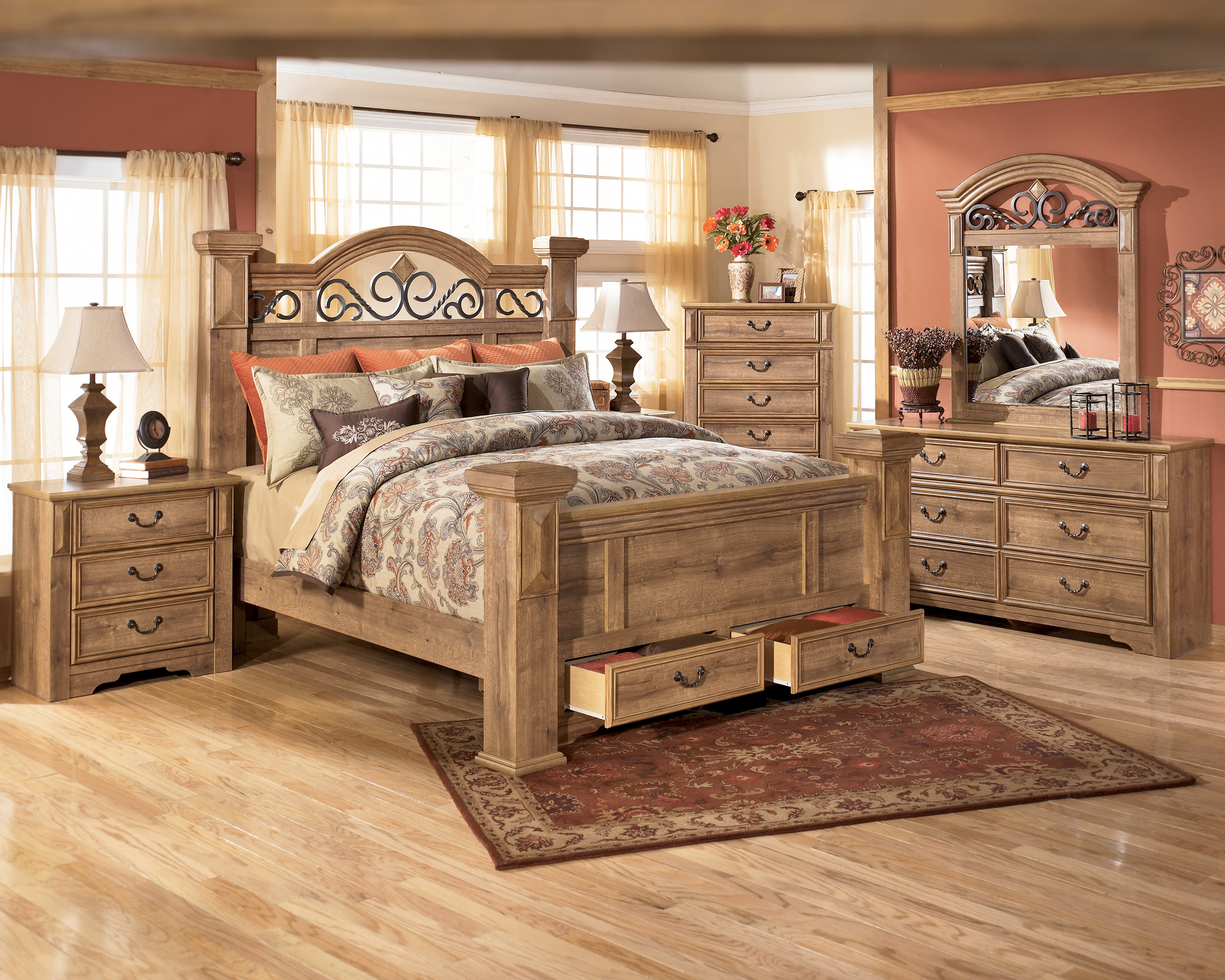 Bedroom Stylish Gorgeous Laminate Floor And Fancy Queen Beds